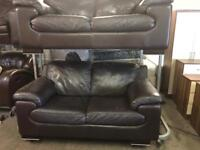 As new 2 full brown leather 2 seater sofas