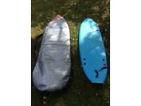 Ocean and Earth 6 foot beginners surfboards plus cases for sale