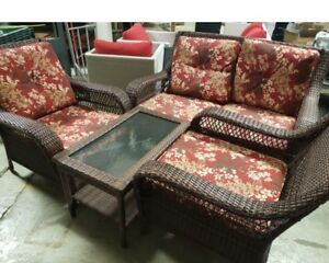 4 piece patio set with cushions.