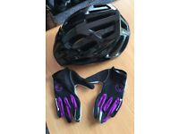 Cycle Helmet & Gloves size medium brand new never used.