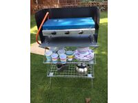 Camping gaz dble burner + grill, camp kitchen, cups, plates, bowls, wine glasses, tumblers, kettle