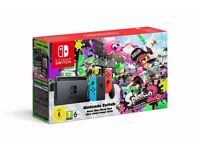 NEW Nintendo Switch Neon Red/ Neon Blue Console with Splatoon 2 Bundle.