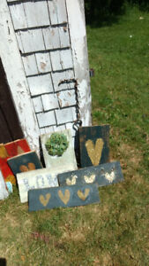 Home crafted barnboard signs