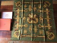 Vintage Sage & Gold Hermes Silk Scarf