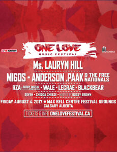 2 GA One Love Music Festival Tickets- $70 for both