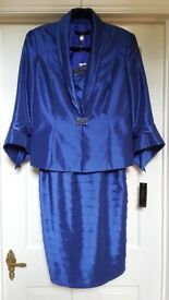 New with tags Veni Infantino for Ronald Joyce royal blue polyester silk dress and jacket. Size 14.