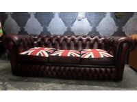 Stunning Chesterfield 3 Seater Union Jack Sofa Oxblood Red Leather Uk Delivery
