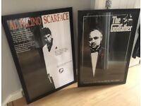 Godfather & Scarface framed movie posters