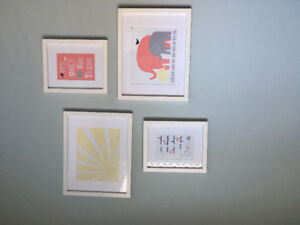 Various Baby Items (Bedding, Monitor, Elephant Prints, Bookends)