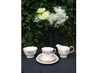 Bone China Queen Anne Tea Cup, Saucer, Tea Plate, Milk Jug and Sugar Bowl Set