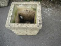 A VERY OLD BRICK AFFECT STONE PLANTER 14x14x13 inches