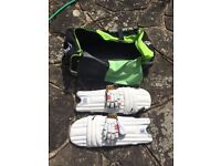 Kookaburra cricket bat and bag with pads and gloves