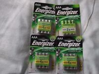 AAA batteries energizer plus rechargeable x4 packs as new unused,