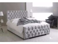 ❤70% Off❤New Premium Quality Double / King Crushed Velvet Chesterfield Bed With Memory Foam Mattress