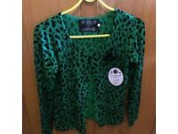 Ladies Rockabilly style green cardigan. With tag