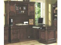 Office Desk with Hutch and Bookcase for Executive. Villa Toscana Brown Cherry