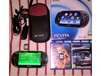 PS Vita, 3 Games, 16GB Memory card, 3 games (Marvel v Capcom 3, Ridge Racer, Rayman Origins) & case
