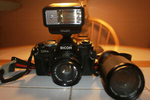 Ricoh XR6 35mm Film Camera with 2 Lenses Flash and Camera Bag