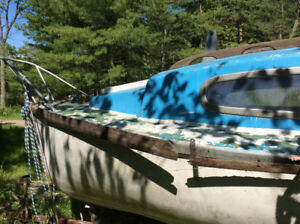 18' sailboat double keel, classic 1965