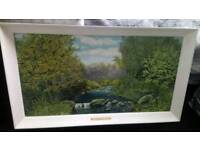 WELSH OIL PAINTING OF THE RIVER CLYDACH IN YNYSYBWL