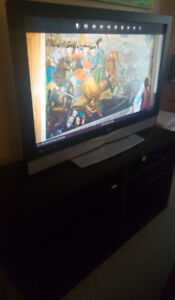 42 inches TV and Stand black/brown
