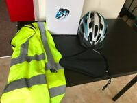 Adult Bicycle Helmet adjustable Size, High Vis Jacket and seat Pad