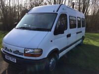 Campervan conversion Renault Master, long MOT, low miles, wood burner, bamboo floor
