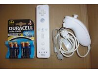 Wii-mote + Nunchuck + NEW Duracell Ultra Battery pack (2 available)
