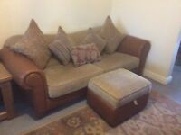 A Next 3 seater sofa and 1 seater sofa with cushions, Poof and Cabinet