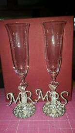 Mrs and Mr Swarvoski crystal stolzle glasses