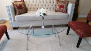 *** Glass coffee table with chrome legs $50***