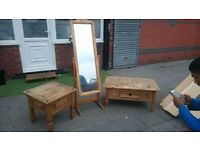 CORONA COFFEE TABLE & SIDE TABLE WITH LARGE SWIVEL MIRROR ALL IN VERY GOOD CLEAN CONDITION DELIVER