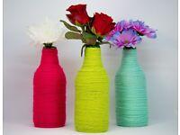 Handmade Yarn Wrapped Vase Multiple Colours; Yarn Wrapped Bottles; Bottle Decor;