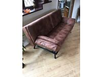Cowhide leather sofa bed