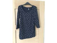 Navy Blue & White maternity top H&M Mama size S
