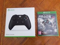 NEW SEALED Official Microsoft Xbox One Wireless Black Controller Gamepad + Gears of War 4 Game