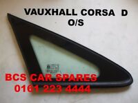 VAUXHALL CORSA D 1/4 GLASS DRIVERS SIDE SMALL WINDOW