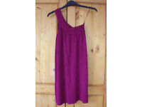 MNG SUIT dark magenta one shoulder sleeveless top. Size M.