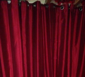 """96"""" Red Ring Top Panel Curtains"""