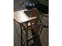 Pine highchair that converts to toddler table & chair