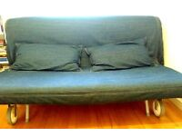 Ikea PS 2 seat sofa bed with Ikea PS Lovas mattress and Vansta bed/ cushion covers