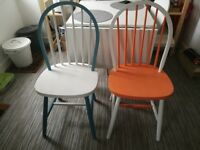 2 x Hand painted shabby chic dining chairs vintage look
