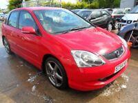 honda civic type s sport red 5 door 2004 damagr repairable drives as new