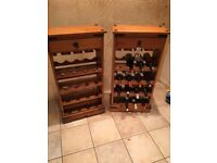 Pair of Antique Pine Solid Wood Wine Racks