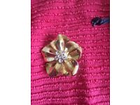 Carbouchon Amber Topaz Set Cross and Flower Brooch.