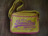 ***Superdry yellow and pink Alumni Bag ***