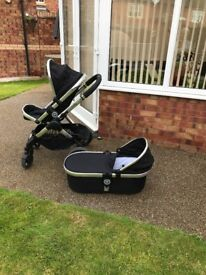 ICANDY PEACH 3 BLACK MAGIC STROLLER AND CARRYCOT PLUS ADAPTERS FOR CAR SEAT
