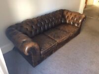 Chesterfield Sofa - Brown leather - Vintage style