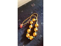 Gold large bead necklace
