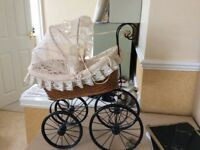 Vintage pram for sale I have used as decor in bedroom cream lace and metal base